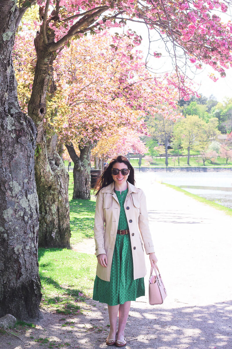 Spring Trench Coat Under Cherry Trees