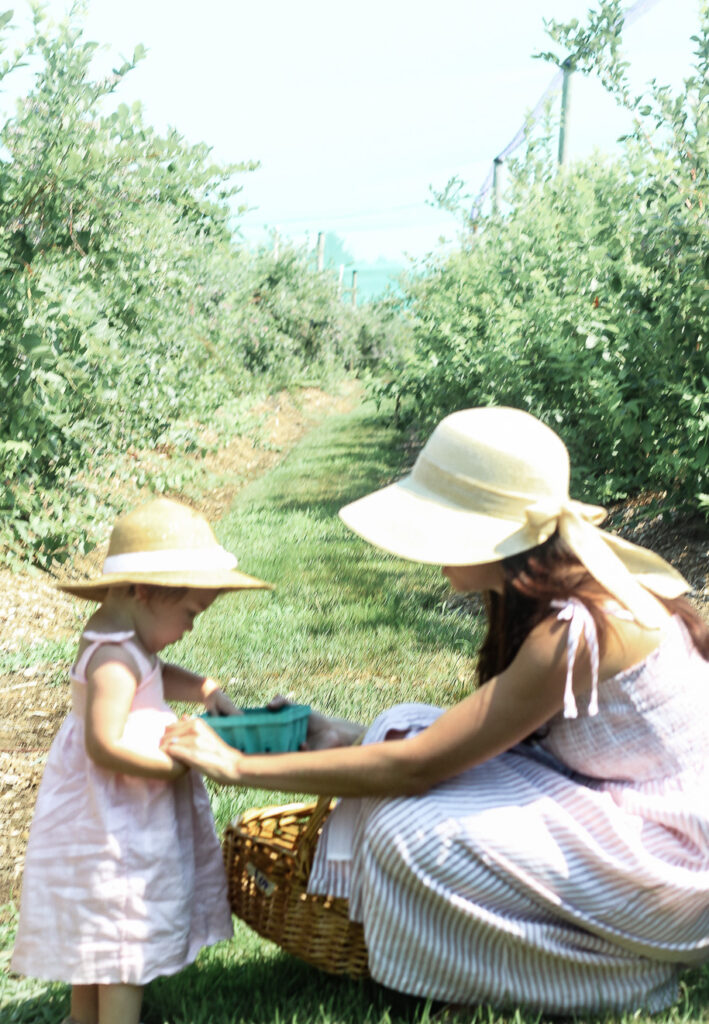 mother and daughter blueberry picking Tougas Family Farm