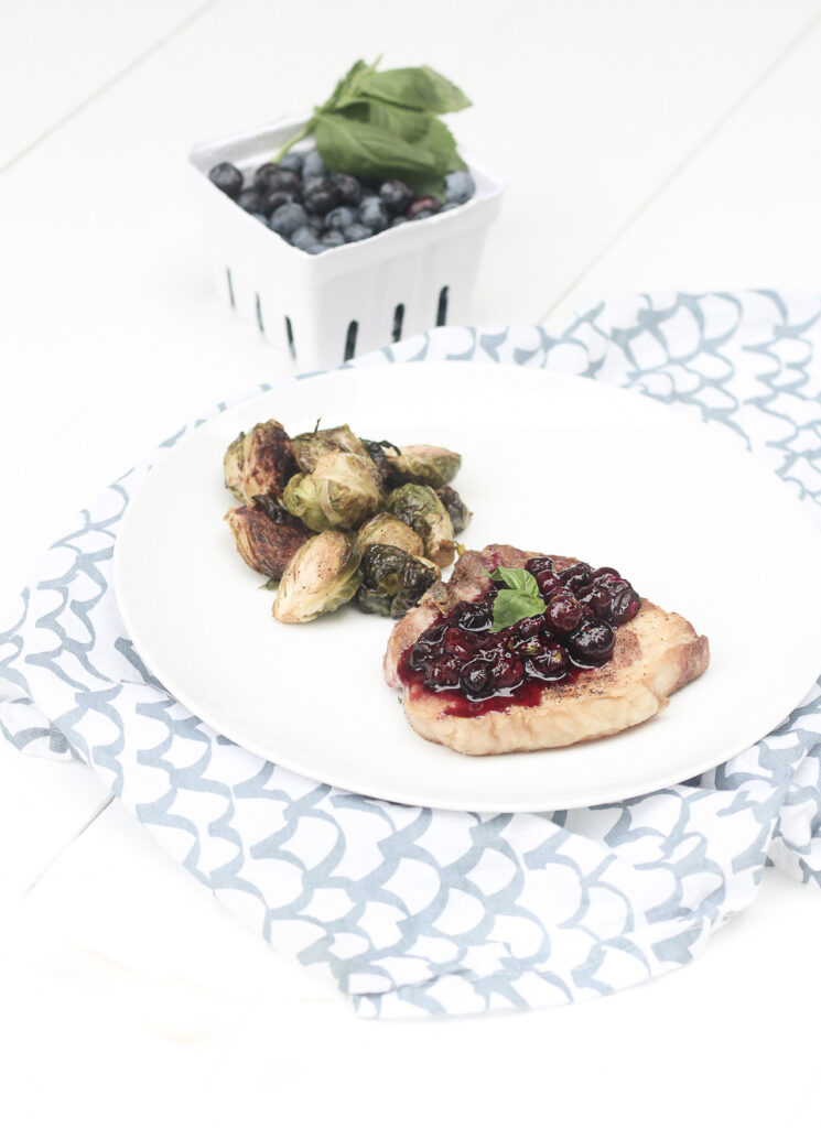 Pork Chops with Blueberry Basil Compote