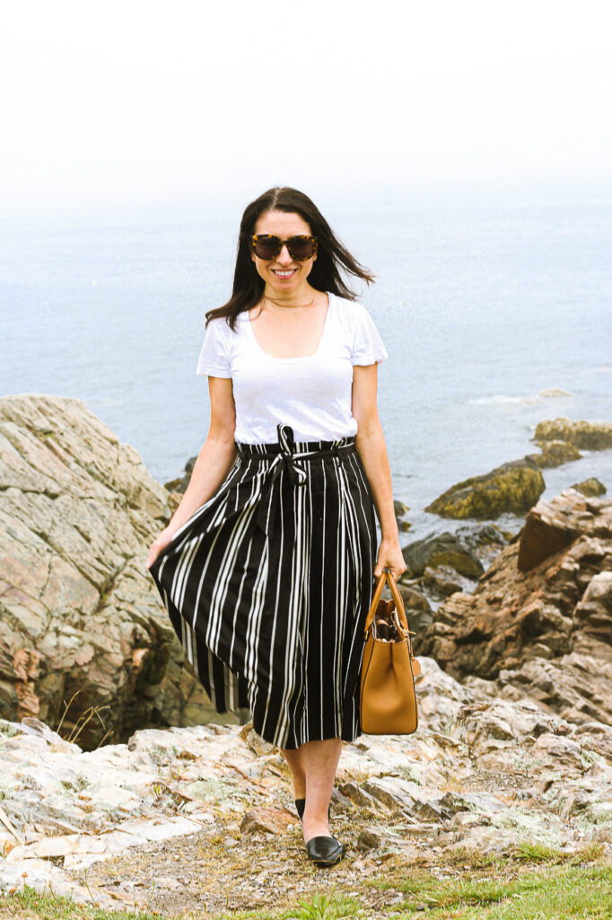 White Tee and Striped Skirt