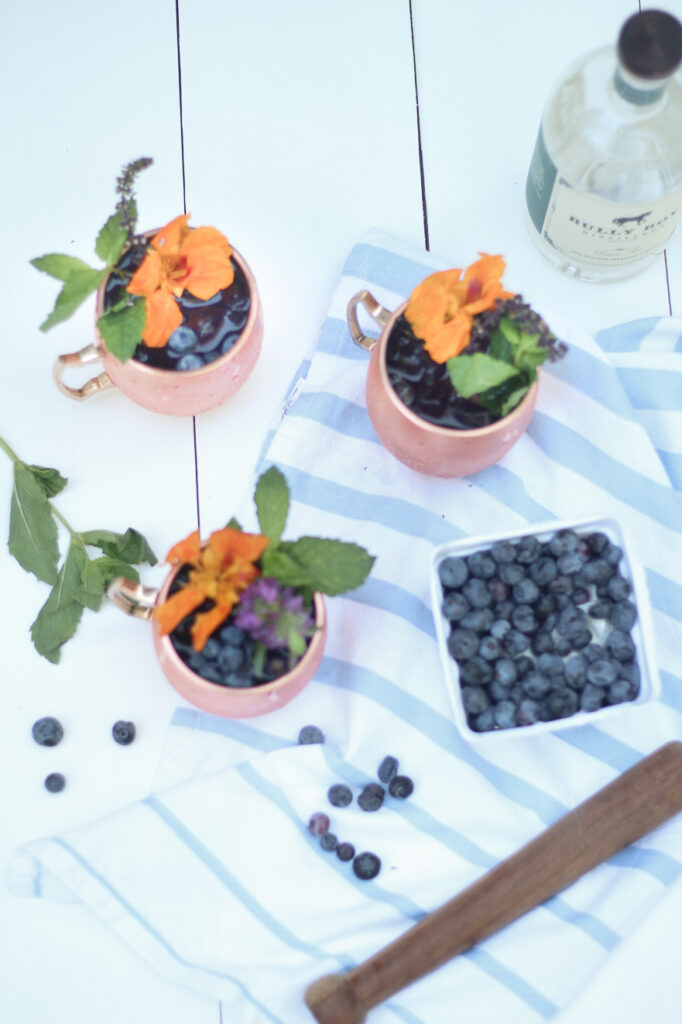 Blueberry Gin Mule flat lay with blueberries