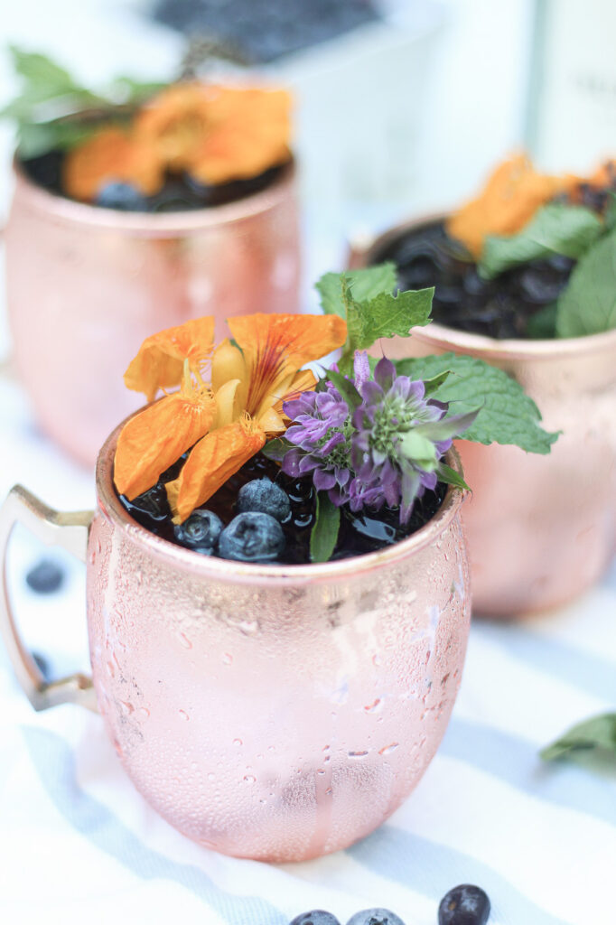 Blueberry Gin Mule close up