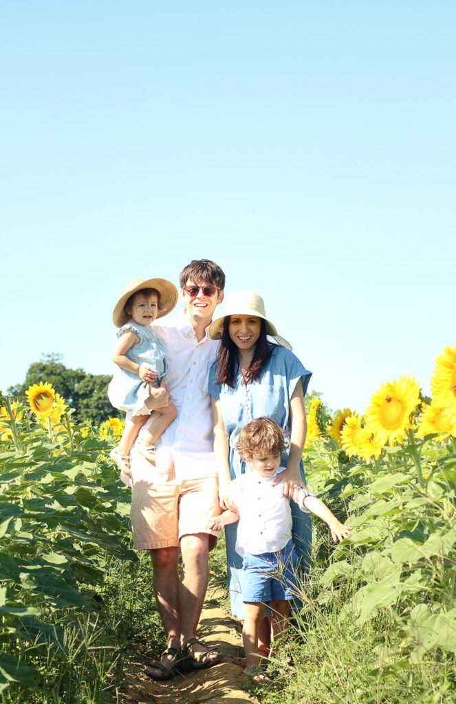 family pic in the sunflower fields