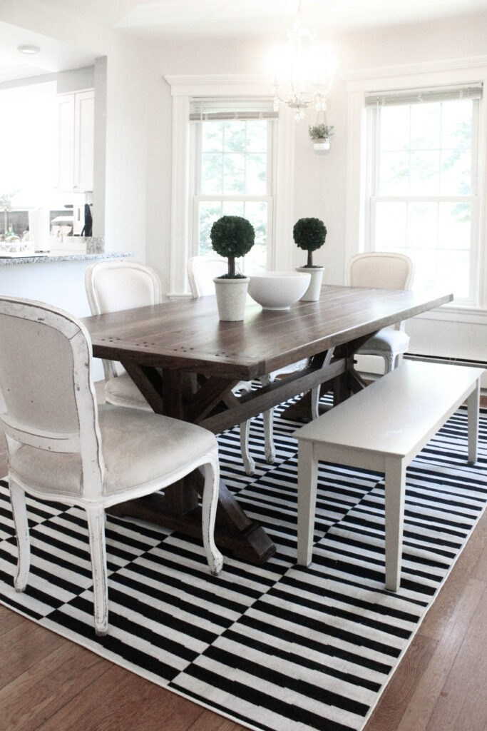 Black and White Dining Room Rug