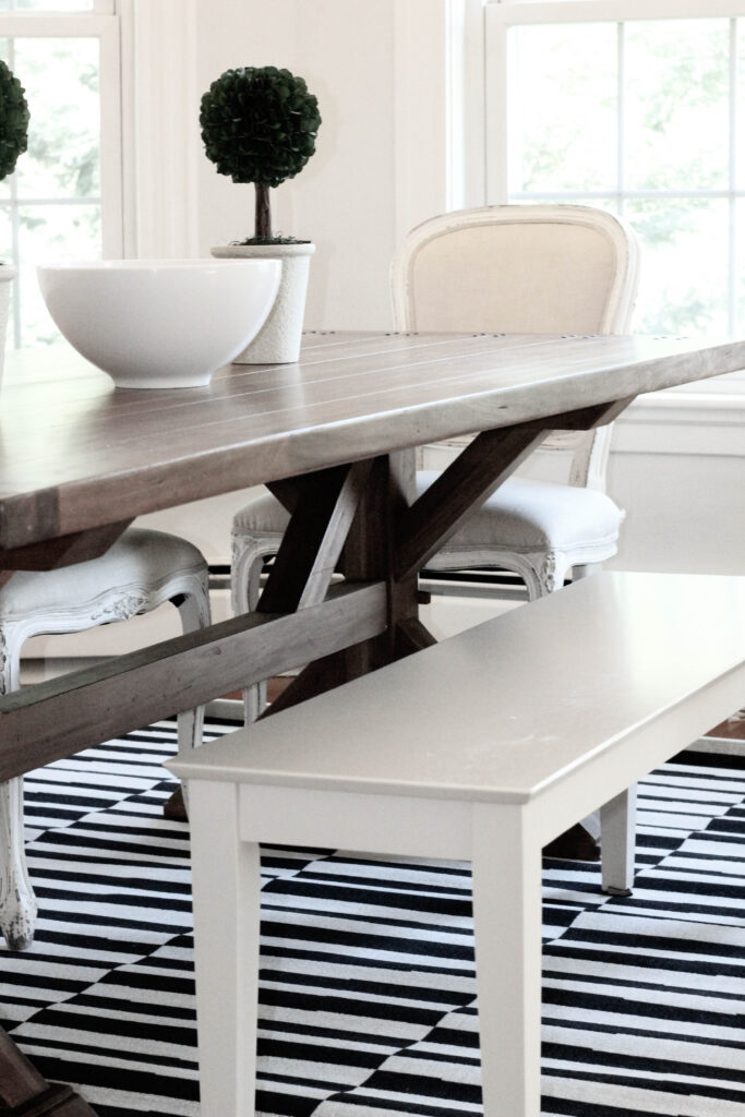 Black and White Dining Room Rug Rustic Wood Table